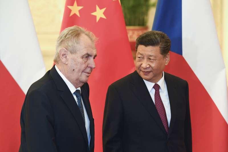 2019年4月,捷克總統澤曼訪問中國,與中國國家主席習近平會面(AP)