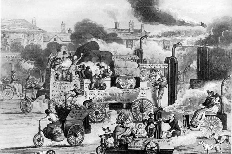 沃爾特·漢考克所畫的蒸氣馬車漫畫。(取自維基百科)