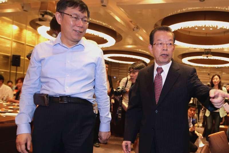 台北市長柯文哲(左)23日訪日4天,多數時間駐日代表謝長廷將陪同。(新新聞資料照)