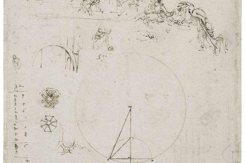 珍藏於英國王室溫莎古堡的達文西(Leonardo da Vinci)素描(AP)