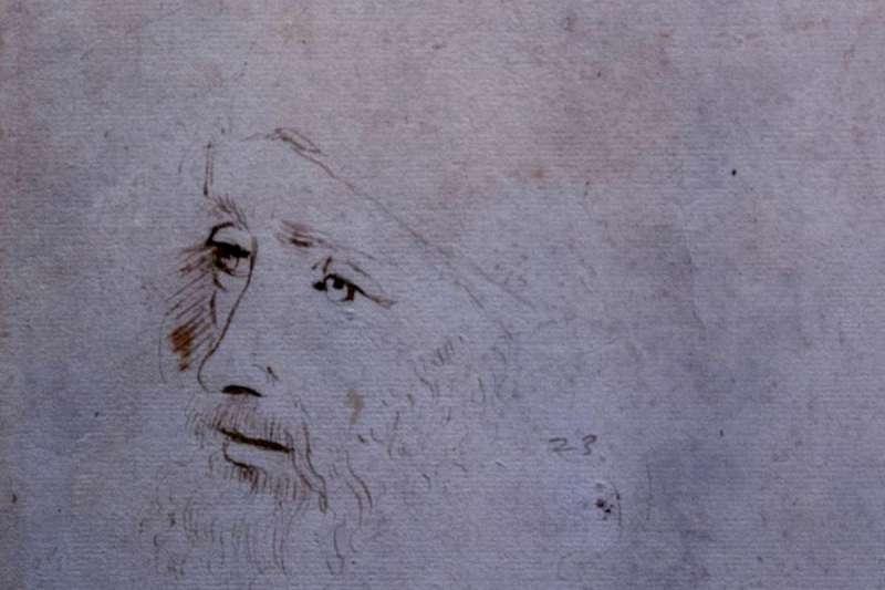 珍藏於英國王室溫莎古堡的達文西(Leonardo da Vinci)自畫像(AP)