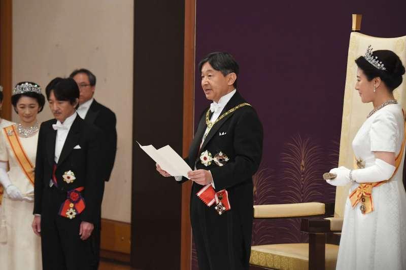 2019年5月1日,「即位後朝見之儀」,日本新天皇德仁發表首次談話。(AP)