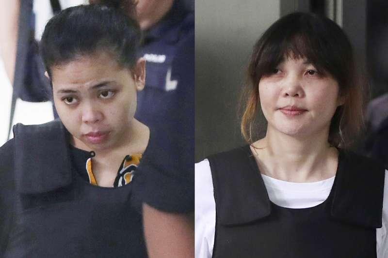 因涉嫌刺殺金正男遭捕的越南女嫌段氏凰(圖右)3日刑滿釋放。(AP)