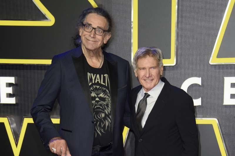 《星際大戰》中的丘巴卡(Chewbacca)與韓索羅(Han Solo),彼得梅休(Peter Mayhew)與哈里遜福特(Harrison Ford)(AP)