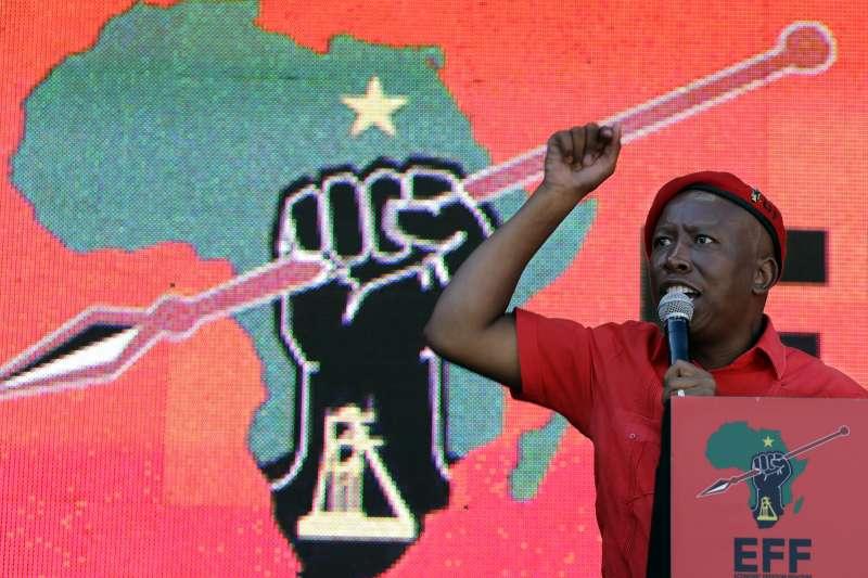 激進左翼政黨「經濟自由鬥士黨」(EFF)黨魁馬勒瑪(Julius Malema)。(美聯社)