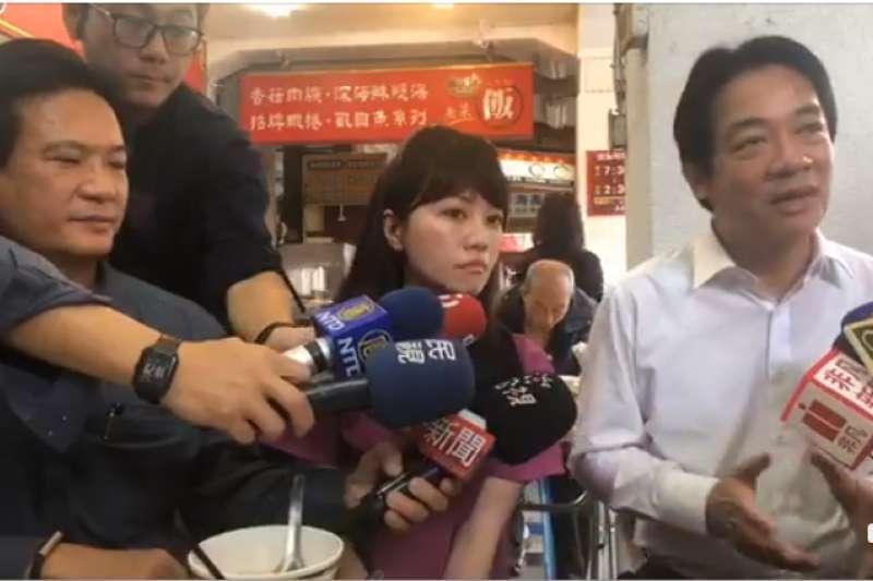 台北市議員高嘉瑜今(6)日與行政院前院長賴清德一起直播,賴清德便表示,若韓國瑜在台北遇到高嘉瑜可能會更慘。(取自賴清德臉書直播)