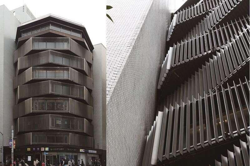 安裝到八角型建築邊緣的鋁製百葉窗。定睛一看,斷面的形狀宛如艾菲爾鐵塔。外部映入的天光,以及於夜間反射出來的紗燈效果,全都經過精密計算。(榻榻米出版社提供)