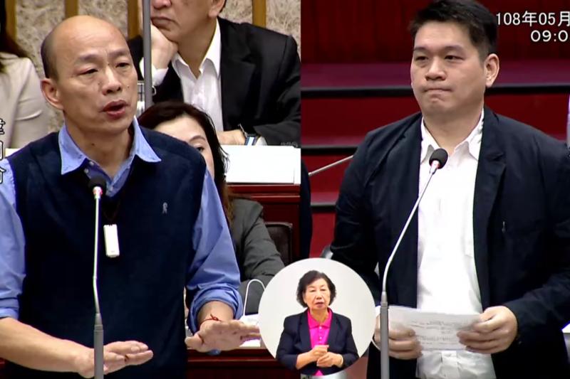 高雄市長韓國瑜(圖左)7日接受民進黨高雄市議員李柏毅(圖右)質詢時,再度跳針連說好幾次「你繼續啊」,讓現場一度尷尬。(取自高雄市議會)