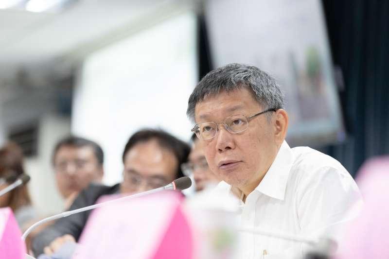 根據最新民調,若國民黨派出鴻海董事長郭台銘,台北市長柯文哲不論對上民進黨任何候選人,都將位居第一。(台北市政府提供)