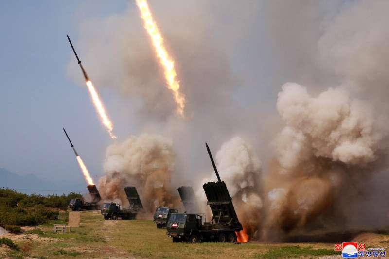 北韓的大口徑遠程火箭砲。(美聯社)