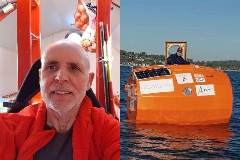 這位72歲阿伯用大桶子橫越大西洋。(圖/TESA : Traversée de l'Atlantique en Tonneau@facebook)