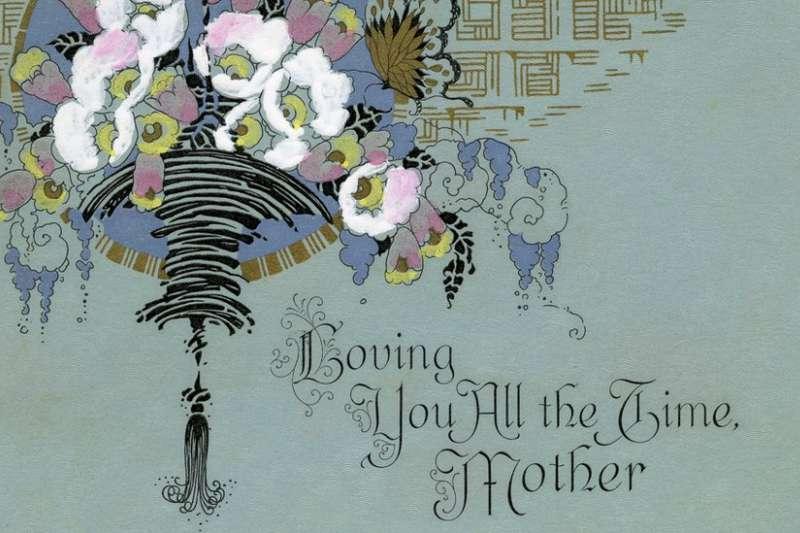 1910年代的母親節賀卡。母親節發起人安娜·賈維斯怒斥這是給「懶人」凖備的東西。(BBC)