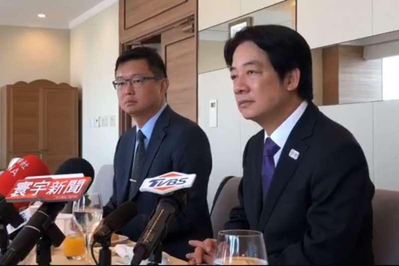 前行政院長賴清德(右)今(12)日結束訪日回台前與媒體餐敘。(截圖自「賴清德-清出於南」臉書粉絲頁)