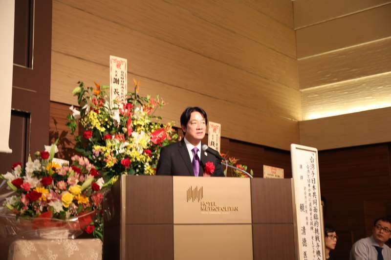 前行政院長賴清德12日在東京以「台灣與日本共同面臨的挑戰與機會」為題發表演講。(資料照,賴清德辦公室提供)