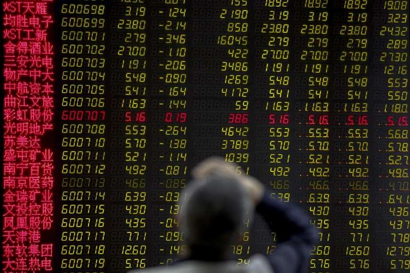 中美貿易戰全面升級,中國股市應聲重挫。(AP)