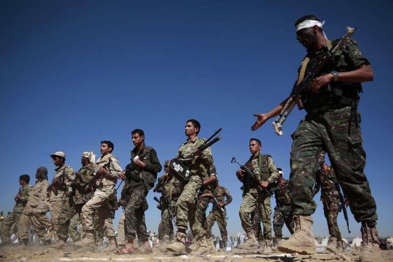 胡塞組織的什葉派戰士。(美聯社)