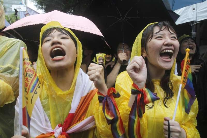 2019年5月17日,立法院表決《司法院釋字第748號解釋施行法》,台灣成為亞洲第一個同性婚姻合法化的國家(AP)