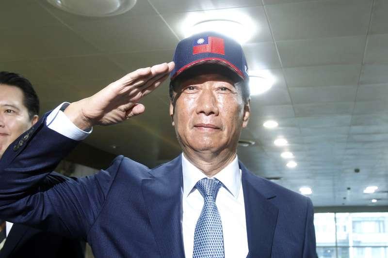 鴻海董事長郭台銘表明他的一貫主張是「沒有一中各表,就不接受九二共識」。(AP)