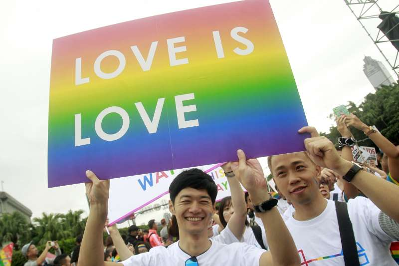 台灣同性婚姻合法化,成為亞洲第一個同性伴侶可以合法結婚的國家。(AP)