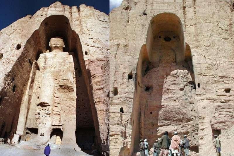 左圖是阿富汗巴米揚大佛被毀前的資料照片(日期不詳)。右圖是2001年3月26日,一些塔利班武裝人員站在被徹底摧毀的巴米揚大佛前。(新華社)