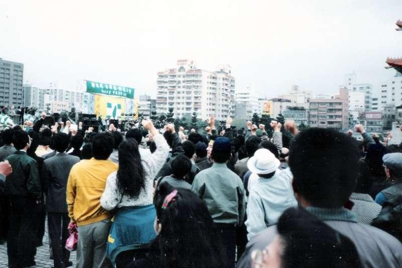 1990年3月18日,台灣學生參與野百合學運。(Bubbha@Wikipedia/CC BY-SA 3.0)