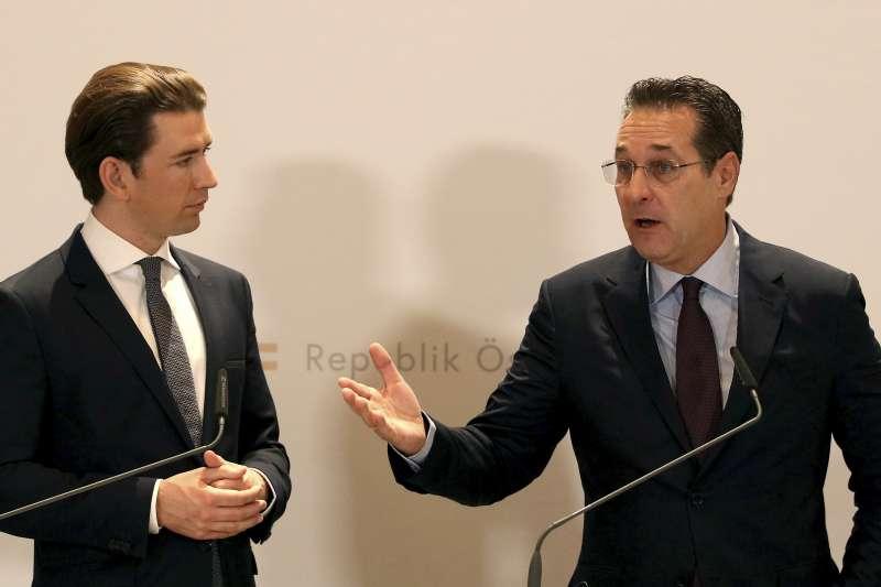 奧地利總理庫爾茲(左)與引發「通俄門」醜聞的前副總理施特拉赫(AP)
