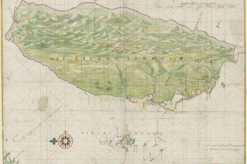 荷蘭時期的台灣地圖。(取自維基百科)