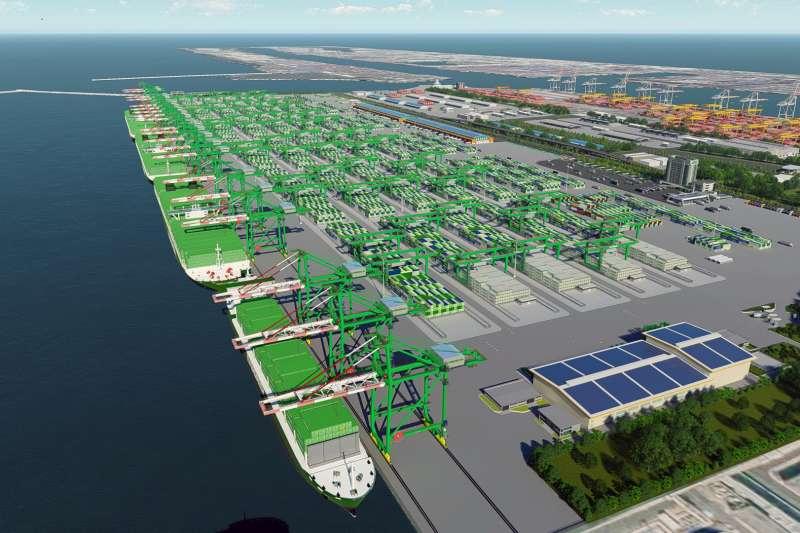 第七貨櫃中心開發後營運模擬圖。(圖/高雄港務公司提供)