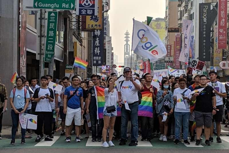 20190522-台中同志遊行於2018年11月舉行,谷歌(Google)也組隊參與盛會。(Google台灣提供)