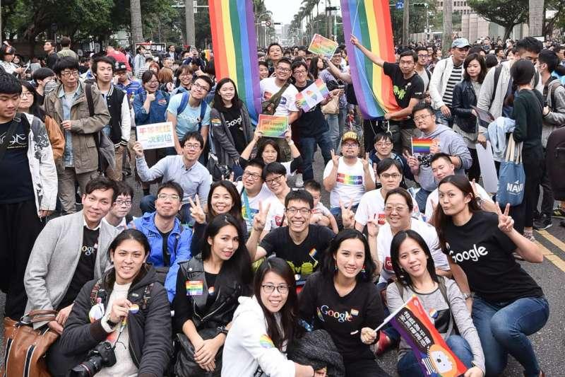 20190522-台灣同志大遊行於2018年10月底舉行,谷歌(Google)也組隊參與盛會。(Google台灣提供)