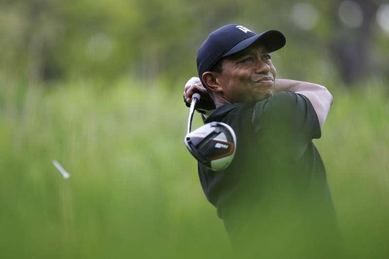 老虎伍茲今年PGA錦標賽出局,直播收視大受打擊。(美聯社)