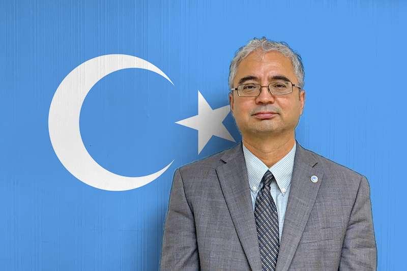 美國維吾爾協會主席伊利夏提(簡恒宇攝、風傳媒製圖)