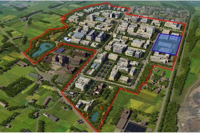 紅色框線為和發園區範圍,右上方藍色方塊是鴻海購買土地。(圖/經發局提供)