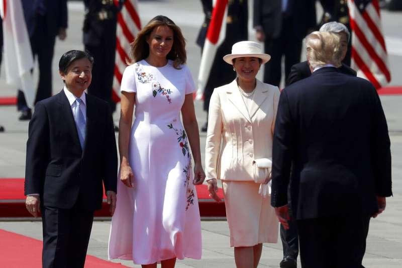 美國總統川普27日親赴東京皇居,成為日本新天皇德仁首位會見的國賓。(美聯社)
