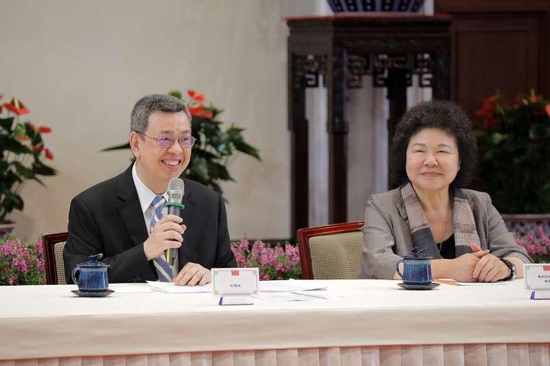 20190527-副總統陳建仁(左)27日宣布4名大法官提名人選,圖右為總統府秘書長陳菊。(取自總統府@Flickr)