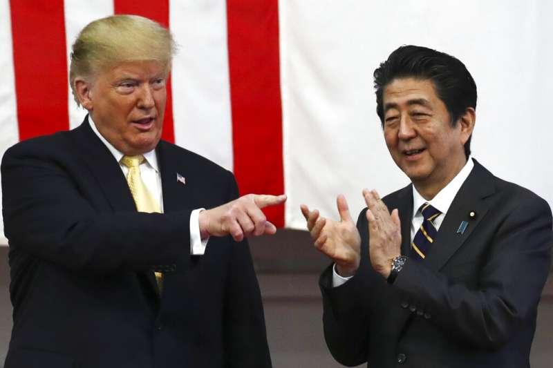 美國總統川普與日本首相安倍晉三。(美聯社)