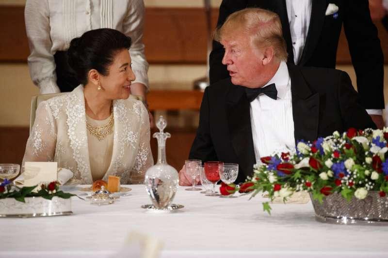 美國總統川普與日本皇后雅子。(美聯社)