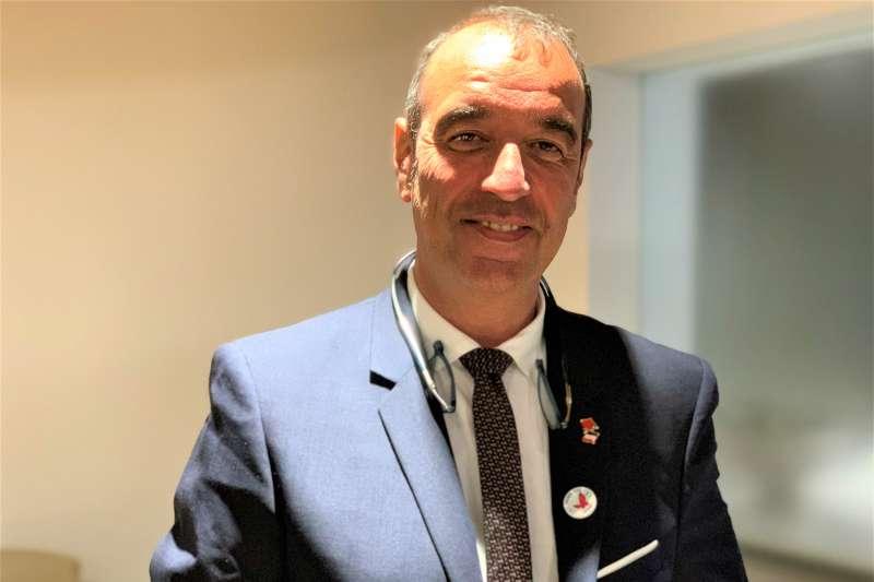 法國國會議員「5G網路安全」國會報告人博多黑(Éric Bothorel)(簡恒宇攝)