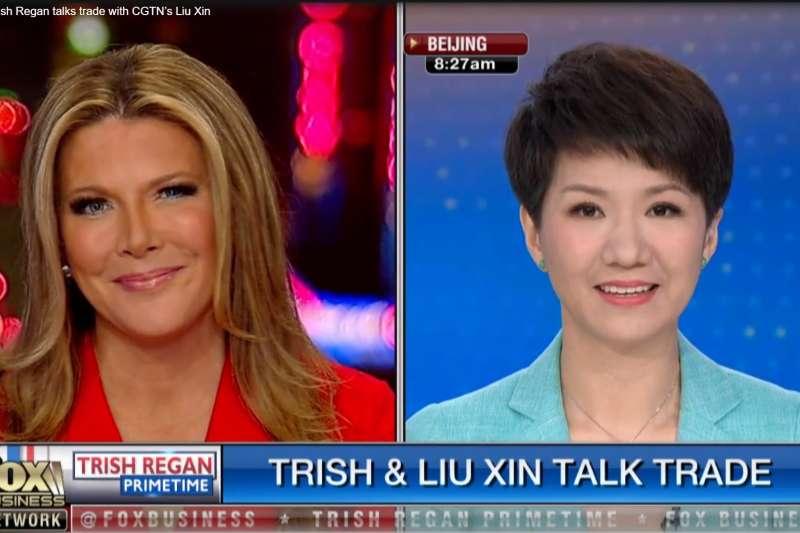 眾所期待的中美主播辯論,最後反像是黎根(左)對劉欣(右)的連線採訪。(圖取自福斯新聞網頁)