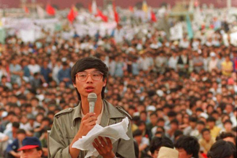 1989年5月27日學運領袖王丹在天安門廣場發表演說。(AP)