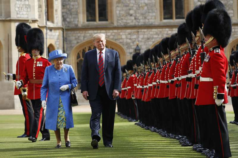 2019年6月3日,美國總統川普將抵達英國進行國是訪問,並接受英國女王的宴請。(美聯社)