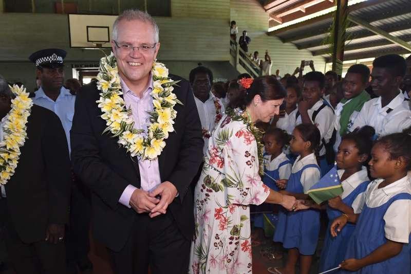 2019年6月3日,澳洲總理莫里森出訪南太平洋島國索羅門群島。(AP)