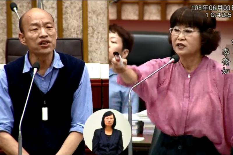 高雄市長韓國瑜(左)3日出席市政總質詢,民進黨議員李喬如(右)如連珠砲激烈質詢,現場火藥味十足。(取自高雄市議會臉書直播影片)