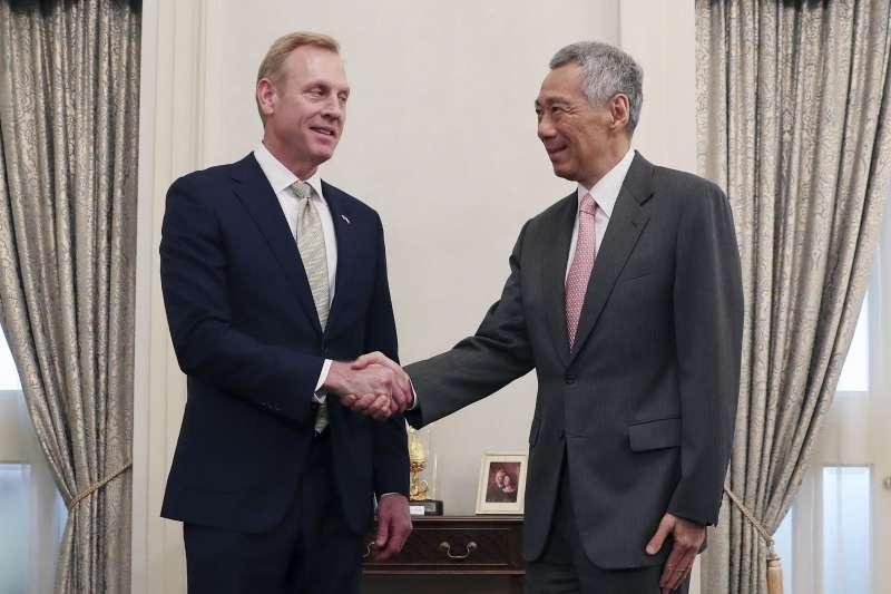 2019年5月31日,第18屆「香格里拉對話」在新加坡揭幕,新加坡總理李顯龍會見美國國防部長夏納翰(AP)