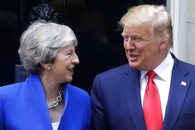 2019年6月4日,美國總統川普及英國首相梅伊會面。(AP)