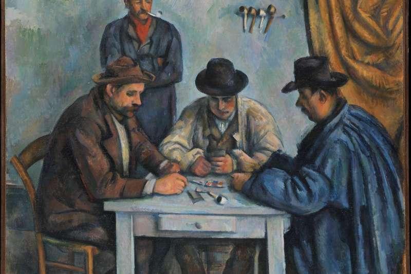 塞尚的《玩撲克牌的人》(1890-92,藏於大都會博物館),雖是畫人物,卻散發著大自然那充滿生命力,統一和諧的力量。那力量與其說是描繪對象傳達給藝術家的,倒不如說是能在任何事物當中看到精神性的藝術家,灌輸給那主題的。雖然自塞尚過世以後,藝術似乎又走了很遠,但塞尚解決問題的原創力,以及不斷突破的熱情,相信還將持續不停的啟發世世代代的人。(取自維基百科)