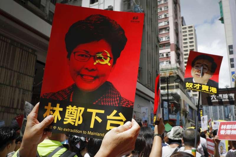 香港「民間人權陣線」9日發起反對修訂《逃犯條例》的反送中大遊行,宣布共有103萬人參與。(美聯社)