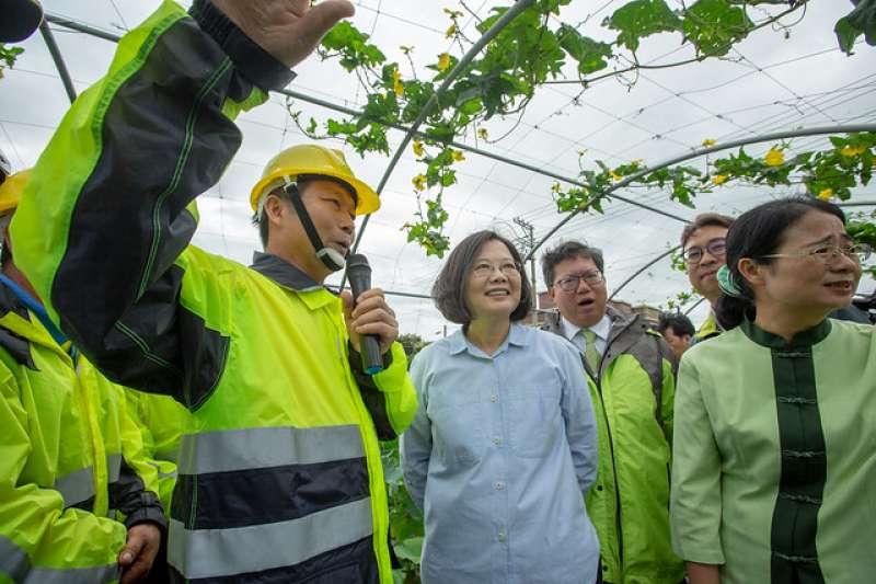總統蔡英文(左二)視導桃園市觀音區樹林里自主防災社區。(取自總統府官網)