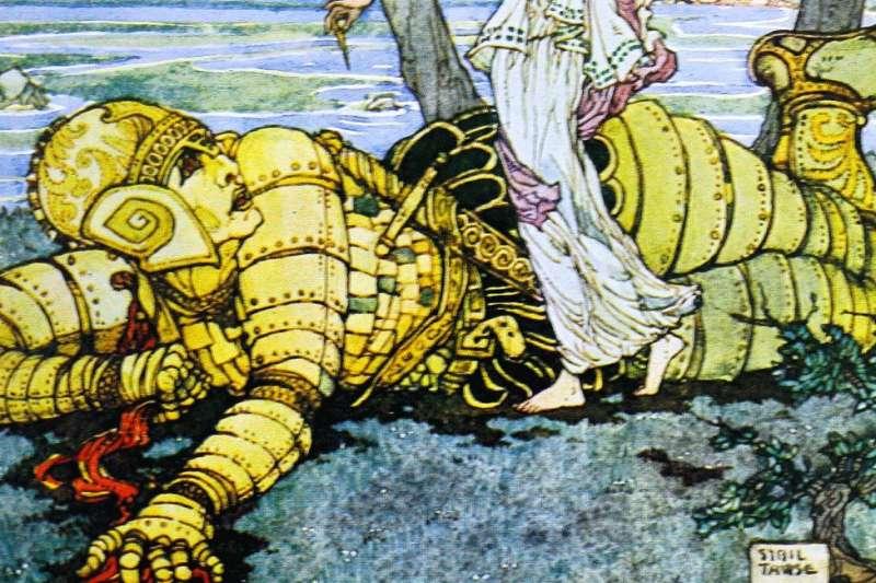 古希臘荷馬史詩中的銅製機器人塔洛斯據信是世界上第一個擬人機器人。托馬斯·布爾芬奇一本關於希臘神話中的神祗和英雄故事的書(1920)中塔洛斯的彩色插圖,插圖作者是陶斯(Sybil Tawse)。(BBC中文網)