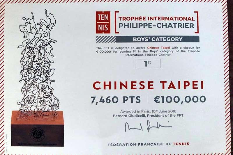 中華網協也允諾,將在最近一次的理監事會上提請討論使用及分配方法,並推廣紅土網球賽事。(中華網協提供)
